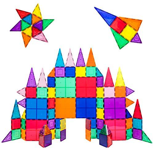 PicassoTiles 100 Piece Set 100pcs Magnet Building Tiles Clear Magnetic 3D Building Blocks Construction Playboards…
