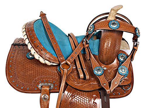 Show Youth Saddle (AceRugs 10 12 13 BLUE CRYSTAL PREMIUM LEATHER WESTERN PLEASURE TRAIL SHOW YOUTH KIDS BARREL RACING PONY SADDLE TACK SET (10))