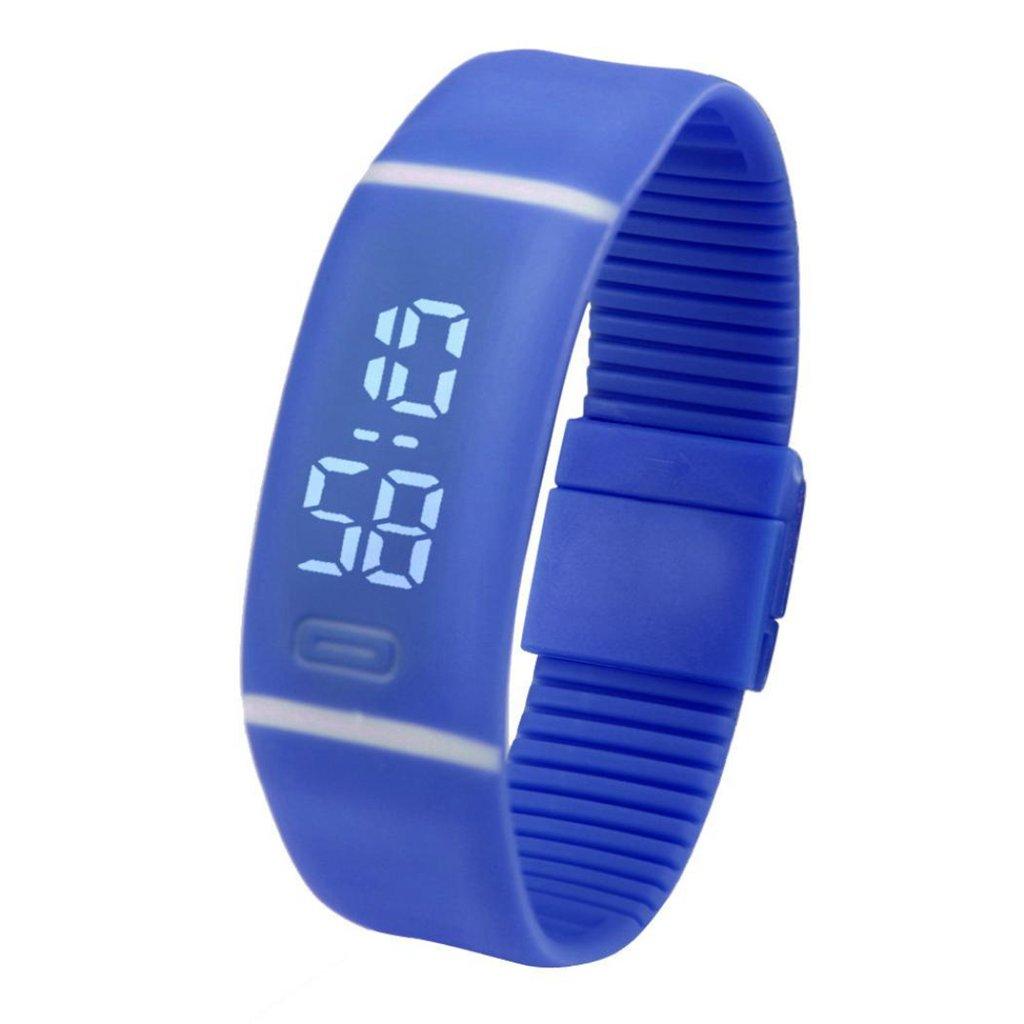 Poto 2017新しいメンズレディース日付ゴムLED腕時計スポーツブレスレットデジタル腕時計 ブルー B0716BYXV5 ブルー ブルー