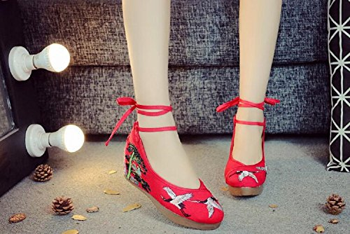 Qipao Stile Wedges Lace Cinese Womens Ricamo Shoes Party Lazutom Red Up Lady Platform Dress PqTwZA