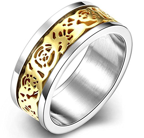 PSRINGS Ring Pure Tungsten Carbide Ring Hollow Ring Gold Plated Greek Key Design Titanium Steel 7.0