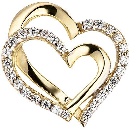 Pendentif Deux Coeur en or jaune 333bicolore avec Zirconium Double Cœur
