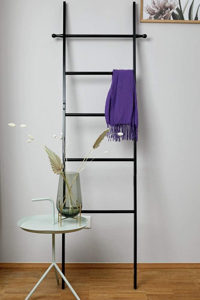 schwarz WENKO Handtuchleiter Suri 43 x 170 x 33 cm sch/öne Leiter als Handtuchhalter oder Kleiderst/änder nutzbar aus echtem Bambus