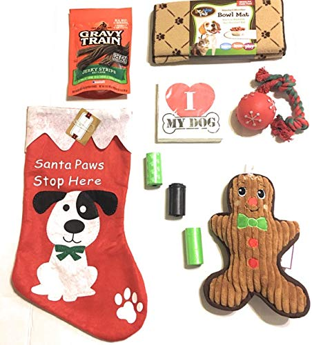 Christmas Stocking Bundle for Dog, Jerky Treats,Rope and Squeaky Ball,Squeaky Gingerbread Toy, 3 Rolls Disposable pet…