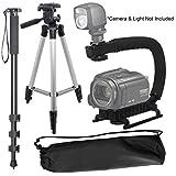 "Camera Support Bundle For: Canon EOS-1D X Mark II, EOS-1Ds, EOS-1Ds Mark II, EOS-1Ds Mark III, EOS-1D X, EOS-1D Digital SLR: Pro 50"" Tripod, 72'' Monopod & Vertical Grip"