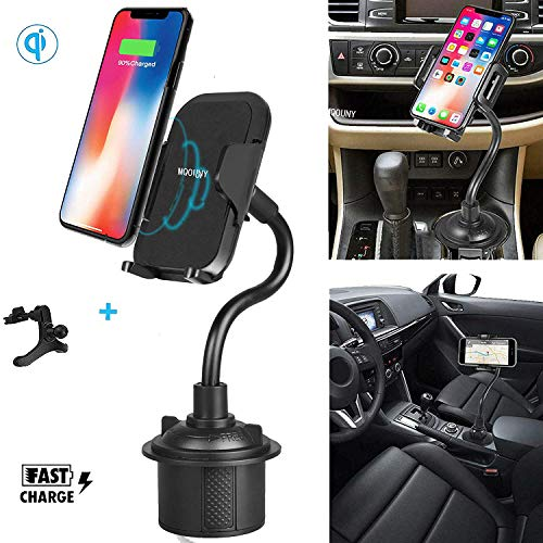 MQOUNY Wireless Car Charger,360 Degree [Adjustable Distance] Fast Wireless Charging Cup Phone Holder & Air Vent Car Phone Mount Compatible for iPhone XR/Xs Max/Xs/X/ 8,Samsung S10/ S10e -