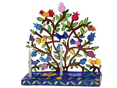 Chanukah Menorah Painted Metal Laser Cut Menorah - Birds in Pomegranate Tree Design for - Menorah Laser