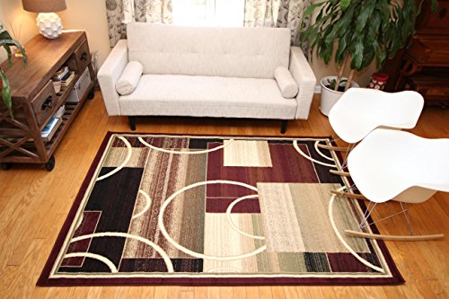 Generations Contemporary Reds Burgundy Modern Square and Circles Area Rug