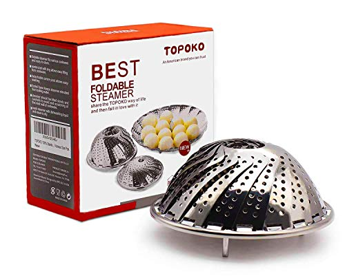 TOPOKO Vegetable Steamer Basket, Fits Instant Pot Pressure Cooker 5/6 QT and 8 QT, 18/8 Stainless Steel, Folding Steamer Insert For Veggie Fish Seafood Cooking, Expandable to Fit Various Size Pot (Stainless Steamer)
