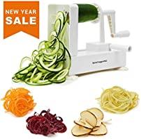 Spiralizer Vegetable Slicer - Best Veggie Zoodle Spiral Maker, Zucchini Pasta Noodle Spaghetti Maker for Low Carb Meals (4 Blade)