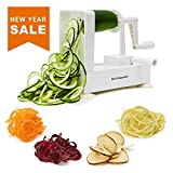 zucchini lasagna noodle maker - Spiralizer Vegetable Slicer - Best Veggie Zoodle Spiral Maker, Zucchini Pasta Noodle Spaghetti Maker for Low Carb Meals (4 Blade)