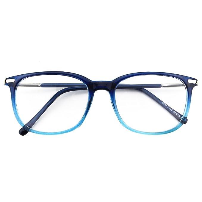 CGID CN79 Retro Anteojos Lente Claro Gafas Para Mujer y Hombre, Azul: Amazon.es: Ropa y accesorios