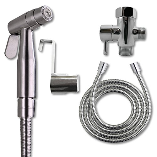 Zen Bidet Fuentes 300 Dual Function (Soft/Jet) Stainless Steel Hand Held Sprayer Shattaf Toilet Attachment | Complete Handheld Cloth Diaper Spray Set Extra Long Hose and T Adapter