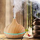 Shubuy 300ml Aromatherapy Cool Mist Humidifier 7 Color Adjustable LED Ultrasonic Aroma Essential Oil Diffuser Wood Grain Air Purifier for Office Home Bedroom Living Room Spa Yoga