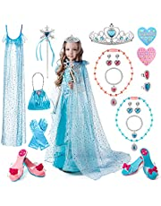 Princess Dress Up, TERTOY Girls Toys Pretend Role Play Set with Heel Shoes, Purse, Cloak, Crowns Tiaras, Gloves & Jewelry, Princess Accessories for Girls Aged 3 4 5 6 7 8 Birthday Party Gift