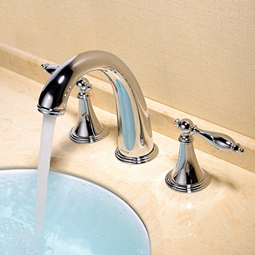 Cheap  Beelee Deck Mounted Three Holes Double Handles Widespread Bathroom Sink Faucet, Traditional..