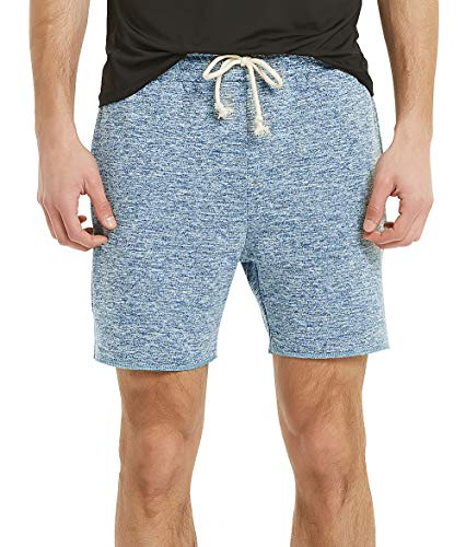 Men's Running Shorts Knit Workout Shorts, Terry Lounging Shorts for Men (M, Marled Blue) ()