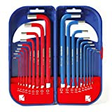 WORKPRO 18-Piece Hex Key Wrench Set SAE Metric Long Arm with Box