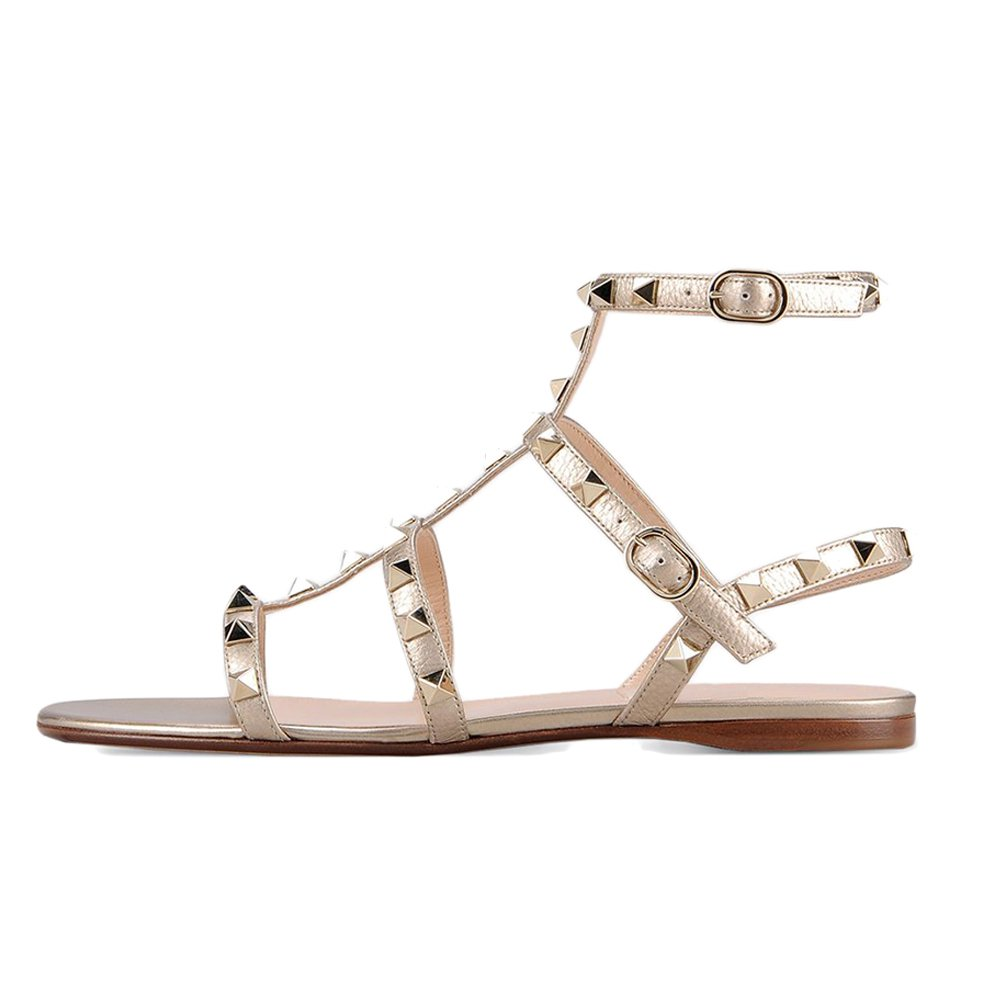 gold VOCOSI Women's Flats Sandals,Rivets Studs Ankle Strap Strappy Summer Sandals shoes