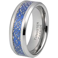 iTungsten 8mm Womens Mens Wedding Bands Tungsten Carbide Rings Blue Celtic Dragon Meteorite Inlay Comfort Fit