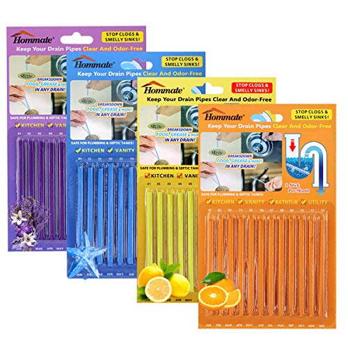 (Drain Sticks Drain Stix Drainstix Sink Sticks Drain Cleaner & Deodorizer Sticks for Clogs Odor Unclogs Kitchen Bathroom Sinks Pipes Septic Tank Safe(4 Color)