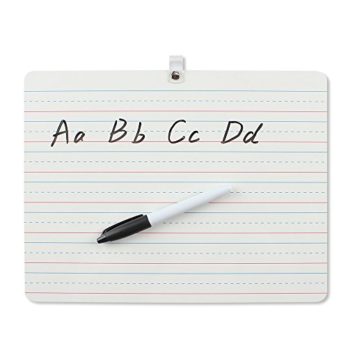Grope Dry Erase Lapboard Portable Learning Board, Double Sided, Lined/Plain Writeboard Mini Lapboards with Black Marker for Students 9x12 inches Set of 1