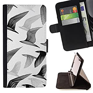 BullDog Case - FOR/Sony Xperia m55w Z3 Compact Mini / - / seagulls birds flight painting art white /- Monedero de cuero de la PU Llevar cubierta de la caja con el ID Credit Card Slots Flip funda de cuer