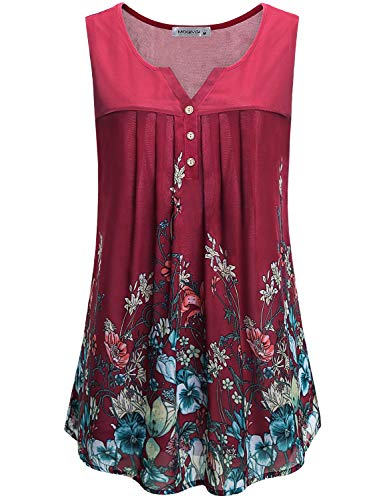 MOQIVGI Women Henley Tank Top,Sleeveless Button Down Slit V Neck Flowered Shirt Summer Cute Pleated Flowy Layered Chiffon Blouses Lady Flattering Office Red Floral Tops Large