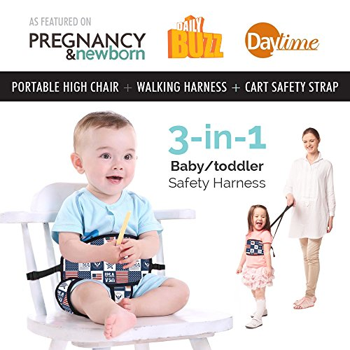 Portable High Chair by Lucky Baby. 3-in-1 Toddler & Baby Harness + Space Saver High Chair + Grocery Cart Safety Strap. The Only Baby Accessory you Need! Perfect for Restaurants/ Travel. Patriot by Lucky Baby