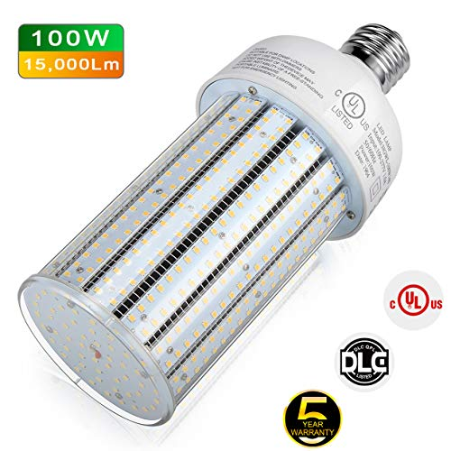 100w Hps - LED Corn Bulb 100W Mogul Base 5,000K Daylight Replacement for 250W/ 400W/ 450W Conventional HID/MH/HPS Light High Bay Low Bay Street Floodlight Area Fixture DLC UL Listed