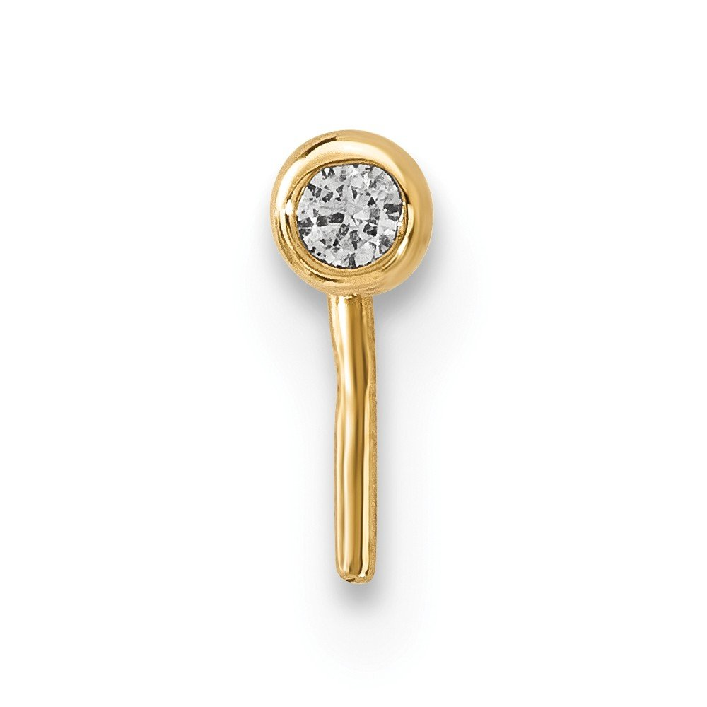 14k Yellow Gold 2.2mm Cubic Zirconia Ball Nose Stud L-Shape Nose Ring 22 Gauge
