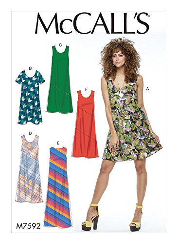 - MCCALLS M7592 Misses' Pullover Bias-Cut Tank and Short-Sleeve Dresses (SIZE L-XXL) SEWING PATTERN