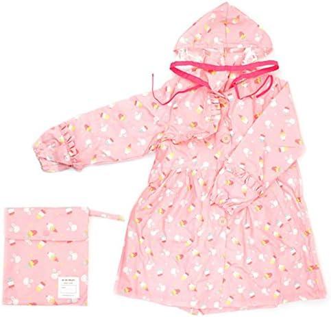 防水 キッズレインコート 子供ベビーフード付きポンチョピンク環境保護帽子着用レインコートポプシクルパターンレインコート 梅雨対策 アウトドア (Size : L)