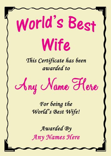 amazon com wife best in the world award personalized certificate