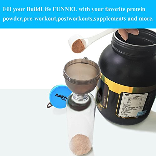BuildLife Fill N Go Funnel - Protein Funnel - Supplement Funnel - Water Bottle Funnel - Powder Container for Supplements, Protein Powder(4 Pack) by BuildLife (Image #2)