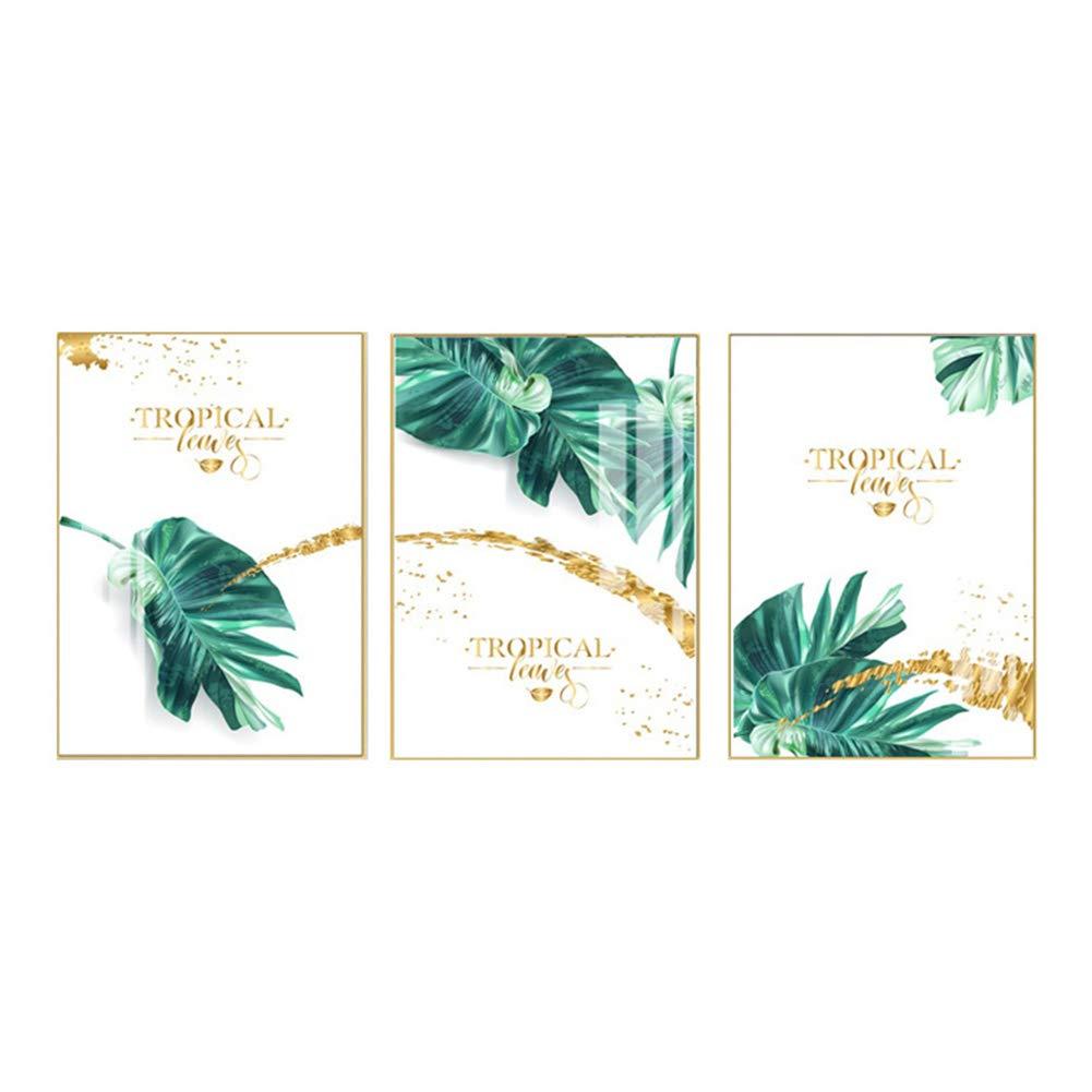 プリントアートワーク植物の葉フローラルゴールドリーフポスターアートのノルディックスタイルの壁アートの装飾、リビングルームの家の装飾のためにハングアップする準備ができて,A,23.6×15.7in 23.6×15.7in A B07SBN96QB