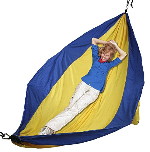 """Mind Reader Camping Hammock with Ropes, Carabiners, and Carrying Case for Camping, Travel, Beach, Backyard, 96"""" L x 50"""" W"""