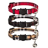 PUPTECK 3 PCS Plaid Cat Collar with Bell - Fit Kitty Cats - Breakaway & Adjustable - Red & Black & Cream