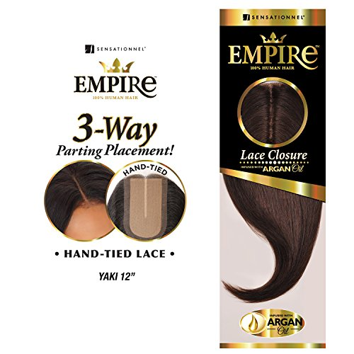 Sensationnel Human Hair Weave Empire 3-Way Parting Lace Closure Yaki 12