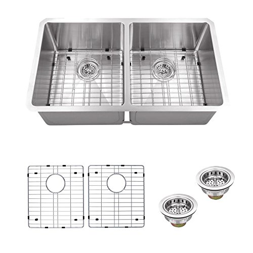 IPT Sink Company Undermount 32 in. 16-Gauge Stainless Steel Double Bowl Kitchen Sink in Brushed Stainless