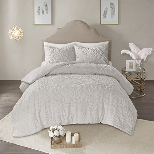 Madison Park B00OVATOR0 Laetitia 3-Piece Tufted Cotton Chenille Medallion Comforter Set Grey Queen,