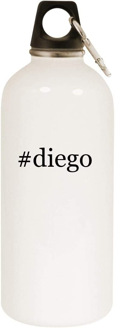 #diego - 20oz Hashtag Stainless Steel White Water Bottle with Carabiner, White