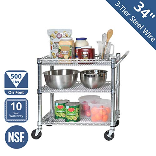 "Seville Classics 3-Tier NSF-Certified Heavy-Duty Commercial Utility Cart, 34"" W x 18"" D x 32.25"" H, Chrome"