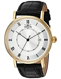 Invicta Men's 'Vintage' Swiss Quartz Stainless Steel and Leather Casual Watch, Color:Black (Model: 23021)