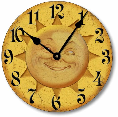 Celestial Clock - Fairy Freckles Studios Item C5016 Vintage Style 10.5 Inch Celestial Sun Face Clock