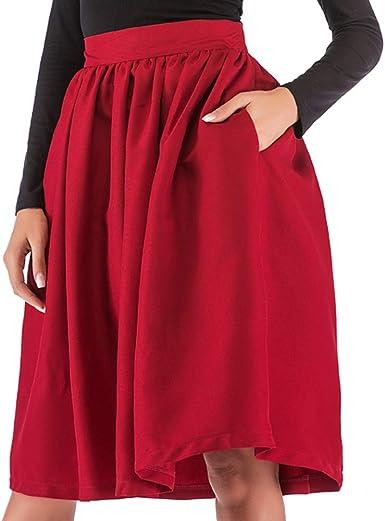 kefirlily Mujer Mujeres Vintage Falda Midi Plisada Cintura Alta A ...