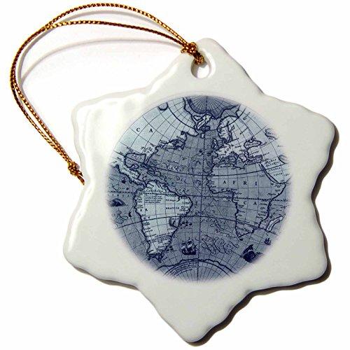 3dRose orn_108835_1 Vintage Globe World MapSnowflake Ornament Porcelain 3Inch