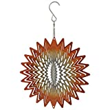 Sunnydaze Garden 3D Wind Spinner Outdoor with Hook, Whirligig Orange Star, 6 Inch