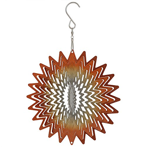 Orange Pinwheel (Sunnydaze Garden 3D Wind Spinner Outdoor with Hook, Whirligig Orange Star, 6 Inch)