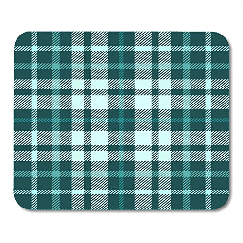 Emvency Mouse Pads Check Tartan Plaid Pattern in Shades of Teal Green Pale Turquoise Aqua Aquamarine Mousepad 9.5